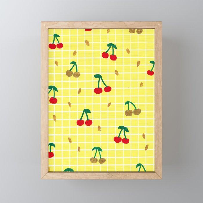 Cherries pattern Framed Mini Art Print