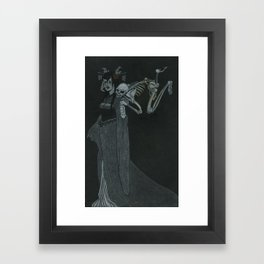 Lady Caressed by Skeleton Framed Art Print