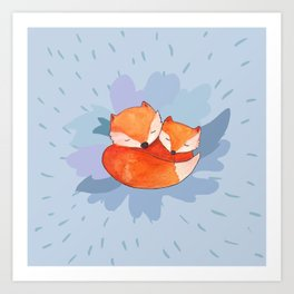 Sleeping foxes at night Art Print