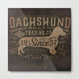 Dachshund trading company long dog graphic art illustration typography Metal Print