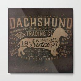 Dachshund trading company long dog graphic art illustration typography Metal Print