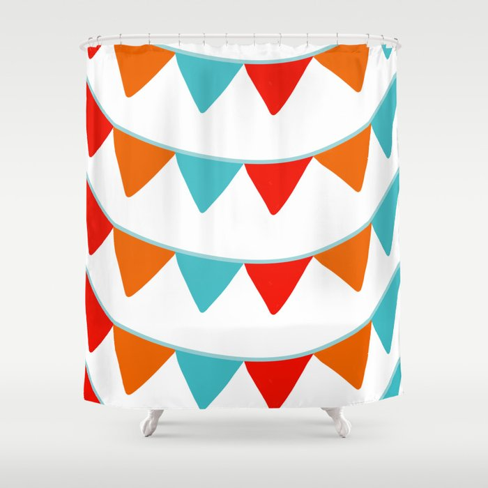 Red Orange And Turquoise Banner Pattern Shower Curtain