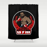 gym Shower Curtains featuring Clubber's Gym by Buby87
