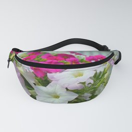 Pink and white petunias Fanny Pack