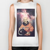 picard Biker Tanks featuring Captain Picard - Astronaut in Space by Nicholas Redfunkovich