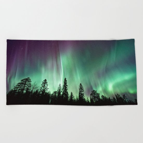 Colorful Northern Lights, Aurora Borealis Beach Towel