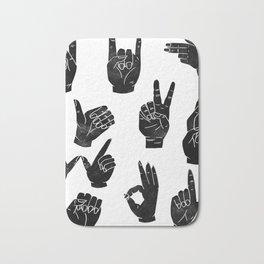 Linocut sign language black and white minimal hand symbols printmaking Bath Mat