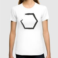hexagon T-shirts featuring White Hexagon by C Designz