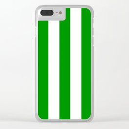 Islamic green - solid color - white vertical lines pattern Clear iPhone Case
