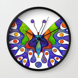 Elenissina - colourful butterfly Wall Clock