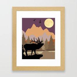 Mountain Caribou Scene Framed Art Print