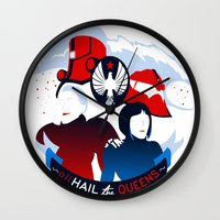 pacific rim Wall Clocks featuring Pacific Rim: All Hail the Queens by MNM Studios