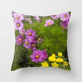 Alaskan Colorful Wild Flowers Serpentining Through Lush Grass Throw Pillow