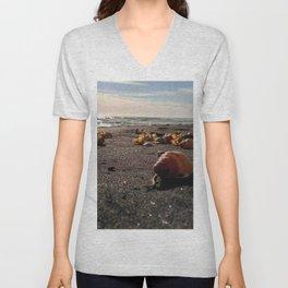 coastline black sand shell new zealand happy feet Unisex V-Neck