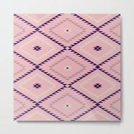 Navajo Pattern - Blush / Eggplant Metal Print
