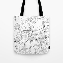 Dortmund Map, Germany - Black and White Tote Bag