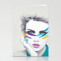 war Stationery Cards featuring War Paint Sally by Jenny Liz Rome