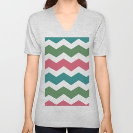 Green Pink Blue Chevron Unisex V-Neck