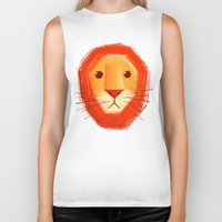 lion Biker Tanks featuring Sad lion by Lime