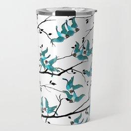 Lovebirds Pattern — Teal • Black Travel Mug