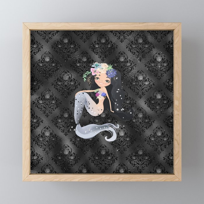 Nautical Sea Mermaid Tail Framed Mini Art Print