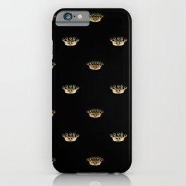 Black & Gold Crown Pattern iPhone Case