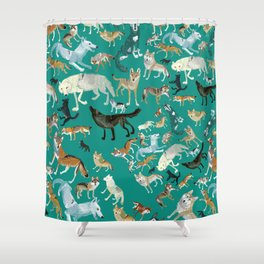 Wolves of the World Green pattern Shower Curtain