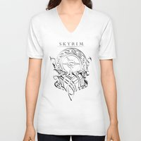 skyrim V-neck T-shirts featuring Skyrim by Darkside-Shirts