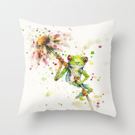Hello There Bright Eyes (Green Tree Frog) Throw Pillow