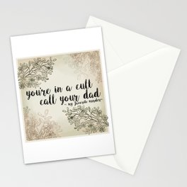 You're In a Cult, Call Your Dad - My Favorite Murder Podcast Floral Design Stationery Cards