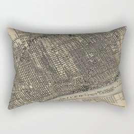 Vintage Map of Detroit Michigan (1904) Rectangular Pillow