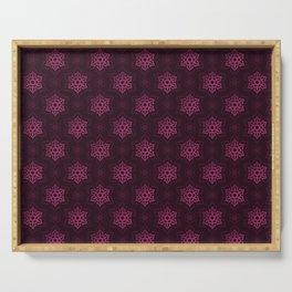 Festive Pink Snowflake Pattern Serving Tray