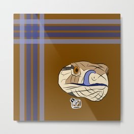 Blue Tongues Skink Plaid Metal Print