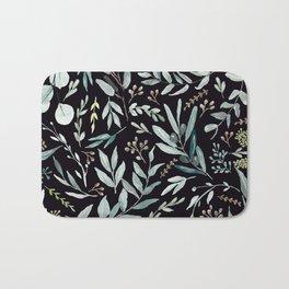Black Eucalyptus Pattern Bath Mat