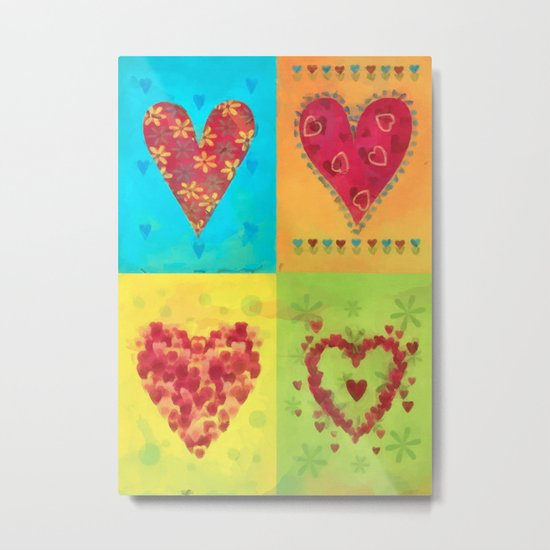 Colorful hearts pattern Metal Print