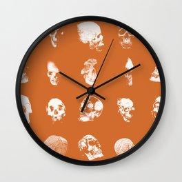 Skulls on Orange Wall Clock