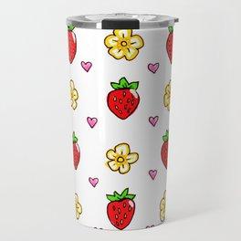 Strawberry Doodle Pattern Travel Mug