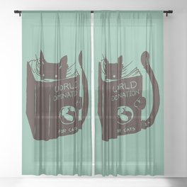 World Domination for Cats (Green) Sheer Curtain