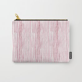 Deep Red Watercolor Stripes Carry-All Pouch