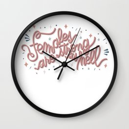 Females are strong as hell - pink Wall Clock