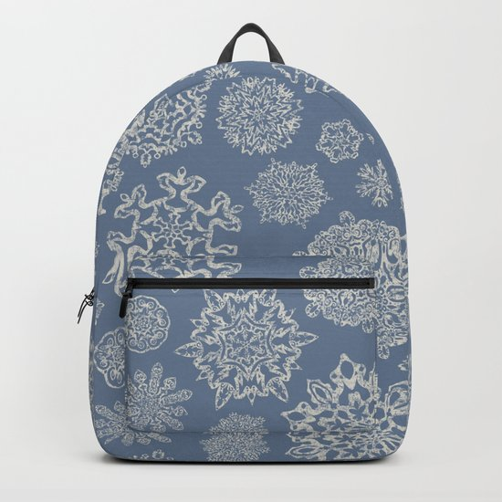 Merry Christmas- Abstract christmas snow star pattern on fresh grey I Backpack