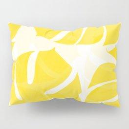 Mellow Yellow Monstera Leaves White Background #decor #society6 #buyart Pillow Sham