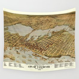 Vintage Pictorial Map of Vancouver BC (1898) Wall Tapestry