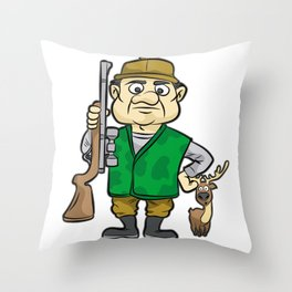 HUNTER WITH DEER Hunting Rifle forester warden Throw Pillow