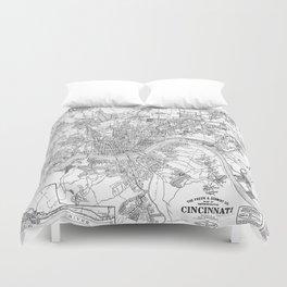 Vintage Map of Cincinnati Ohio (1915) BW Duvet Cover