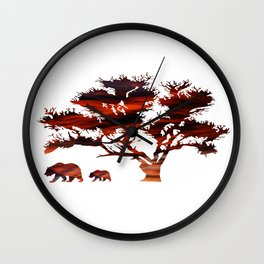 Tree Bear Wall Clock