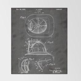 Firemans Helmet Patent - Fire Fighter Art - Black Chalkboard Throw Blanket