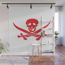 Red flag of Jolly Roger with swords Wall Mural