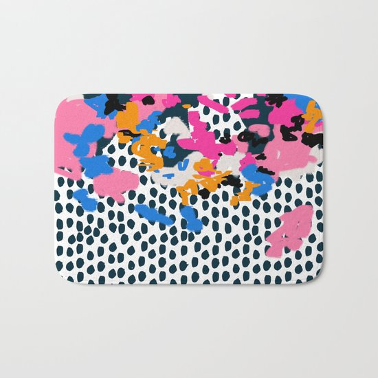 Kenzi - abstract painting minimal hot pink blue dots color palette boho hipster decor nursery Bath Mat