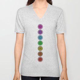 Colorful Rainbow Chakra Mandala , Yoga & Meditation Seven Sacred Mandalas Flower Painting Unisex V-Neck